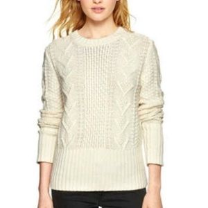 GAP Wool Cable Knit Crewneck White Sweater Chunky